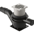 Floor drain with adjustable PP inlet funnel and stainless steel grating including outlet pipe