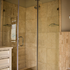 Square corner entry shower enclosure