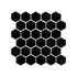 Porcelain Mosaic 51x51mm - Gloss Black Hexagon
